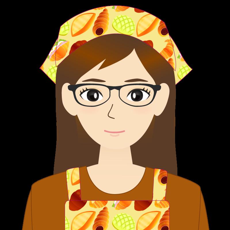 画像:ロングヘアの女性・主婦・エプロン姿 眼鏡