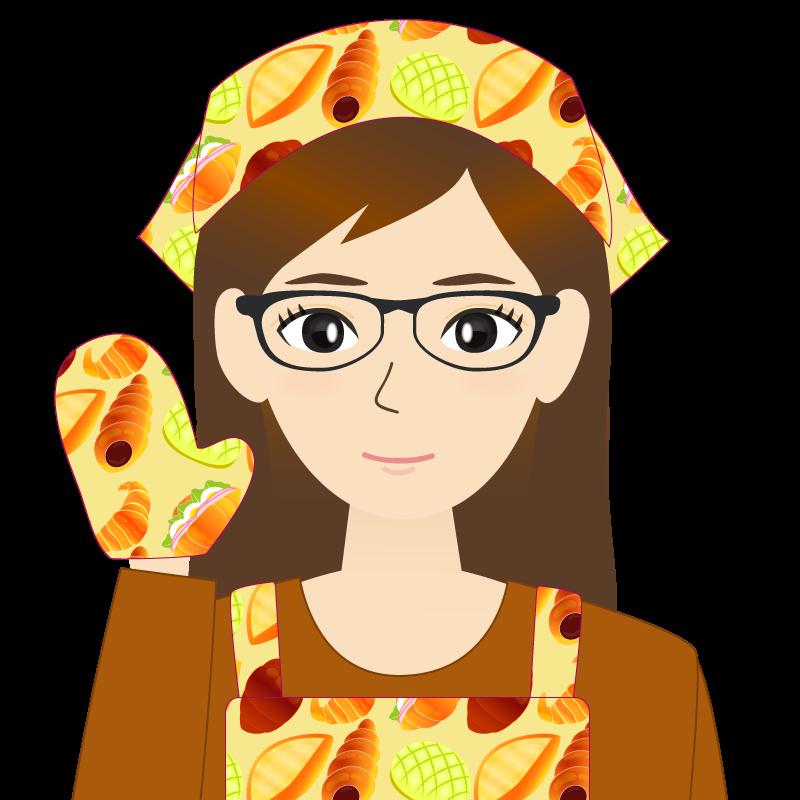 画像:ロングヘアの女性・主婦・エプロン姿 眼鏡 笑顔