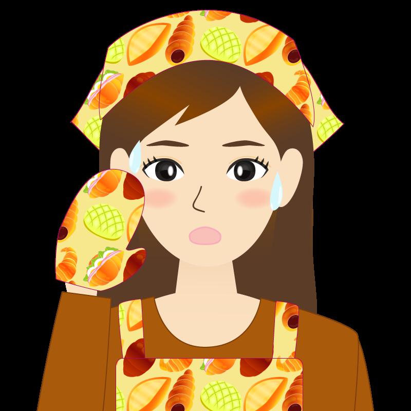 画像:ロングヘアの女性・主婦・エプロン姿 汗
