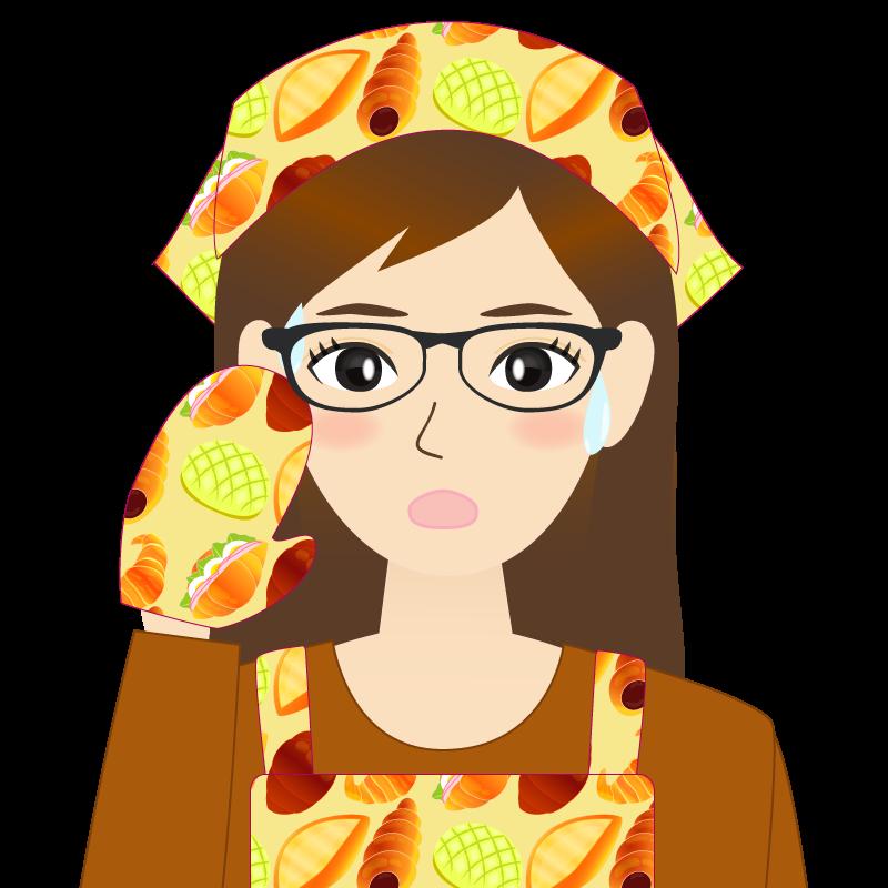 画像:ロングヘアの女性・主婦・エプロン姿 眼鏡 汗