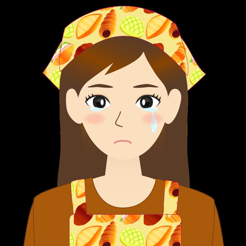画像:ロングヘアの女性・主婦・エプロン姿 涙