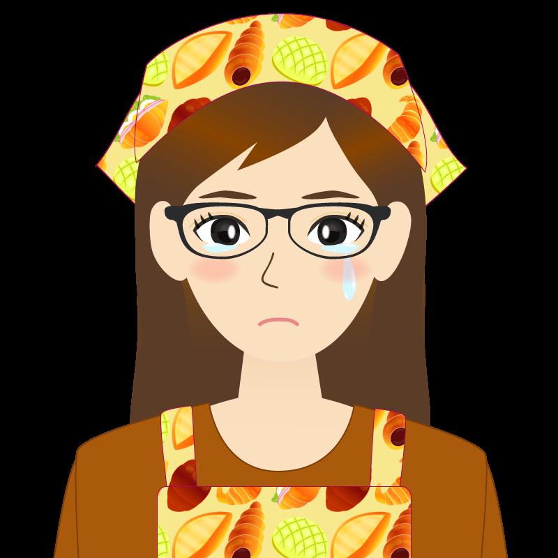 画像:ロングヘアの女性・主婦・エプロン姿 眼鏡 涙