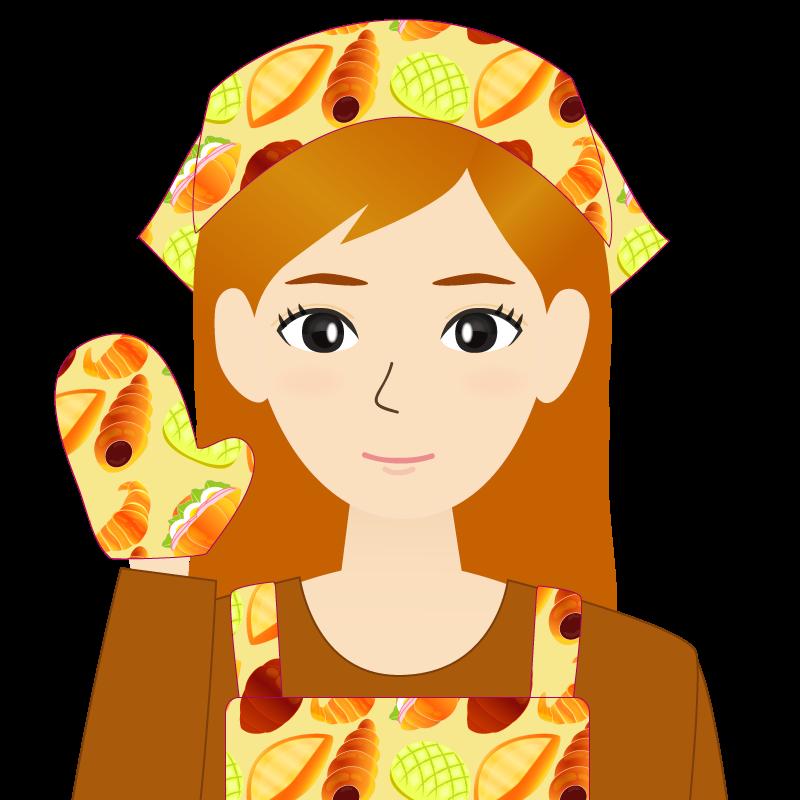 画像:茶髪ロングヘアの女性・主婦・エプロン姿 笑顔