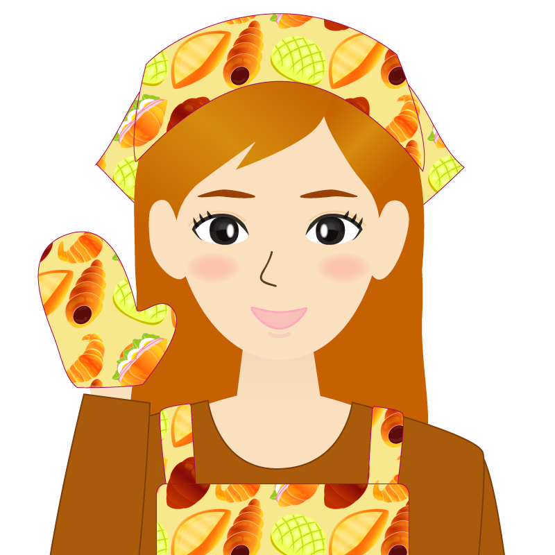 画像:茶髪ロングヘアの女性・主婦・エプロン姿 照れる