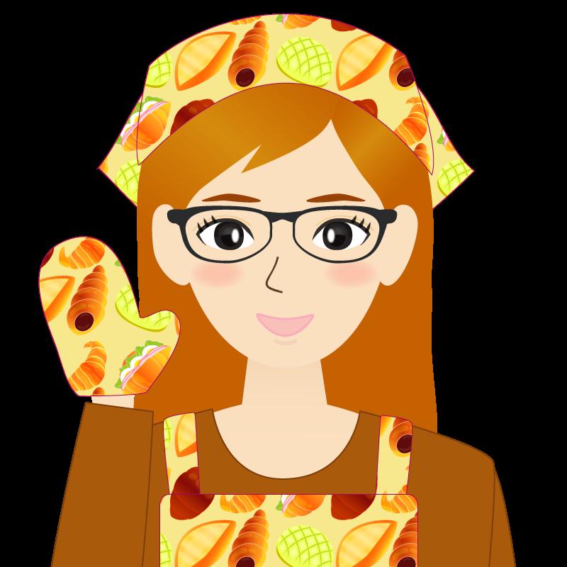 画像:茶髪ロングヘアの女性・主婦・エプロン姿 眼鏡 照れる