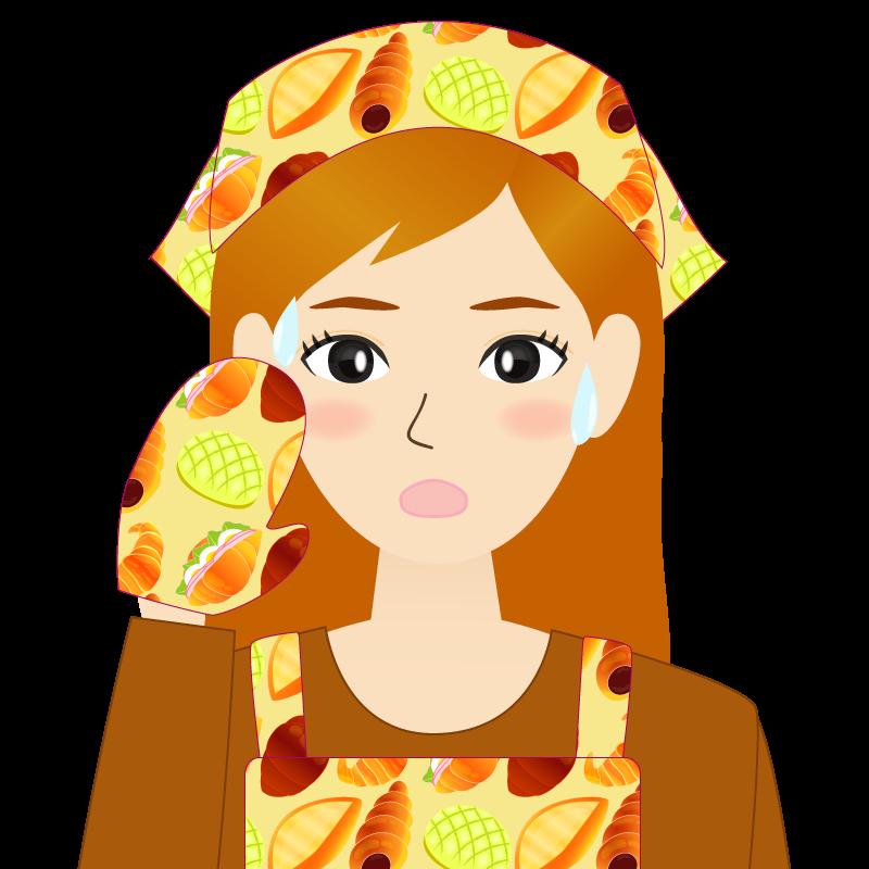 画像:茶髪ロングヘアの女性・主婦・エプロン姿 汗