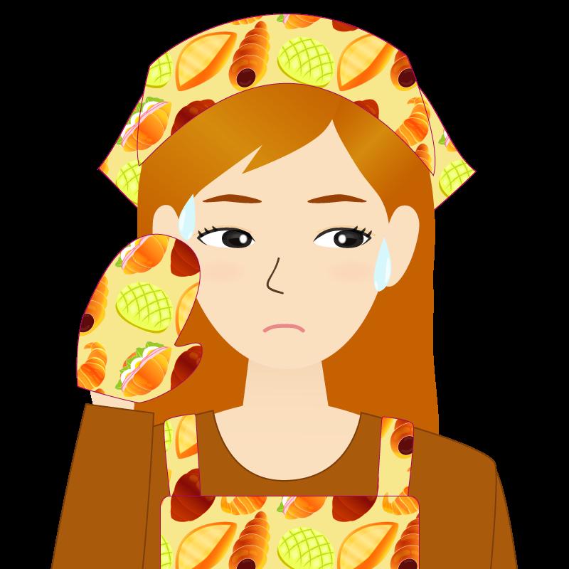 画像:茶髪ロングヘアの女性・主婦・エプロン姿 目線を外す
