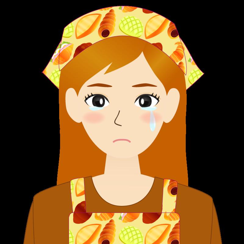 画像:茶髪ロングヘアの女性・主婦・エプロン姿 涙