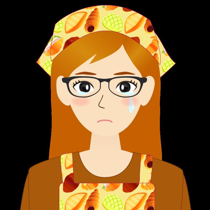 画像:茶髪ロングヘアの女性・主婦・エプロン姿 眼鏡 涙