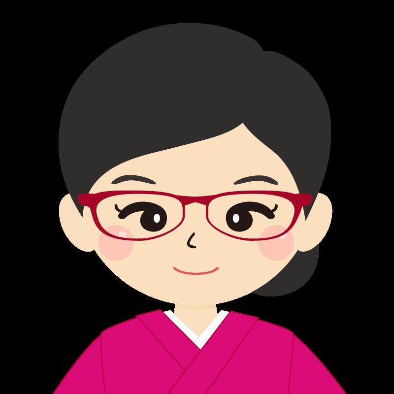 画像:まとめ髪の女性・和装・着物・眼鏡