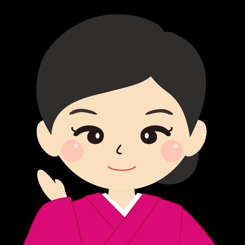 画像:まとめ髪の女性・和装・着物 笑顔