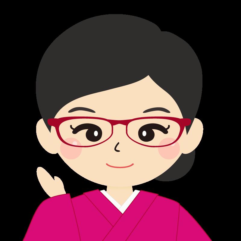 画像:まとめ髪の女性・和装・着物・眼鏡 笑顔