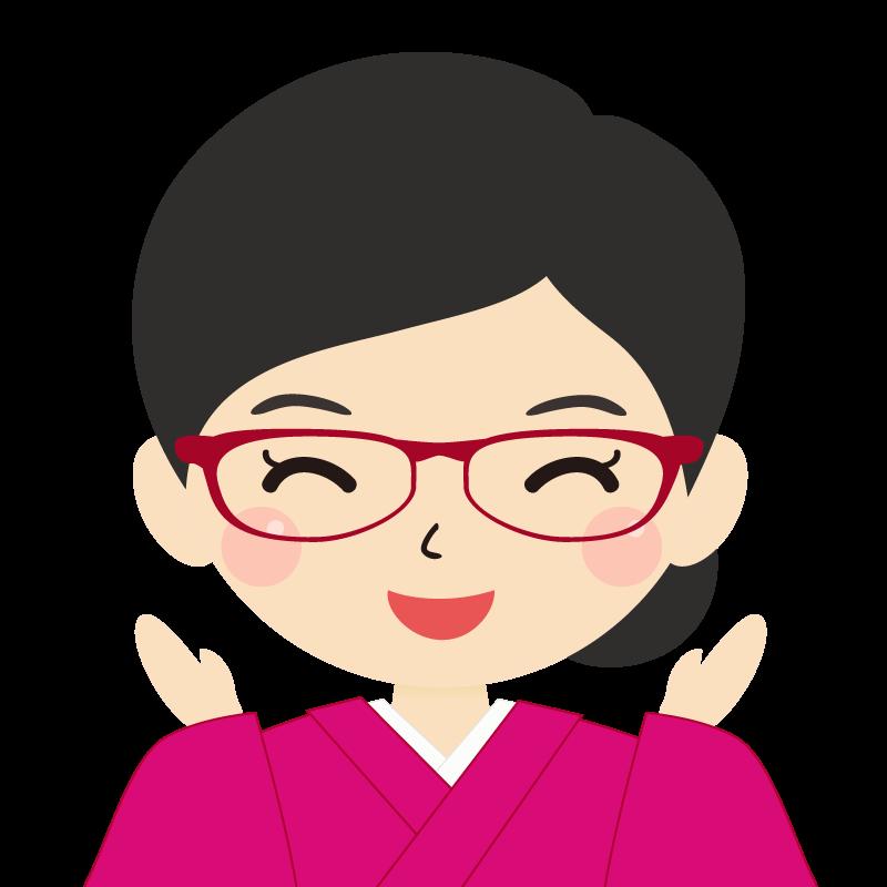 画像:まとめ髪の女性・和装・着物・眼鏡 喜び