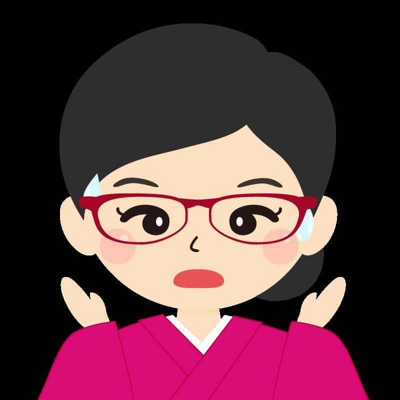 画像:まとめ髪の女性・和装・着物・眼鏡 驚き