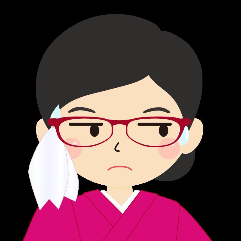 画像:まとめ髪の女性・和装・着物・眼鏡 目線を外す