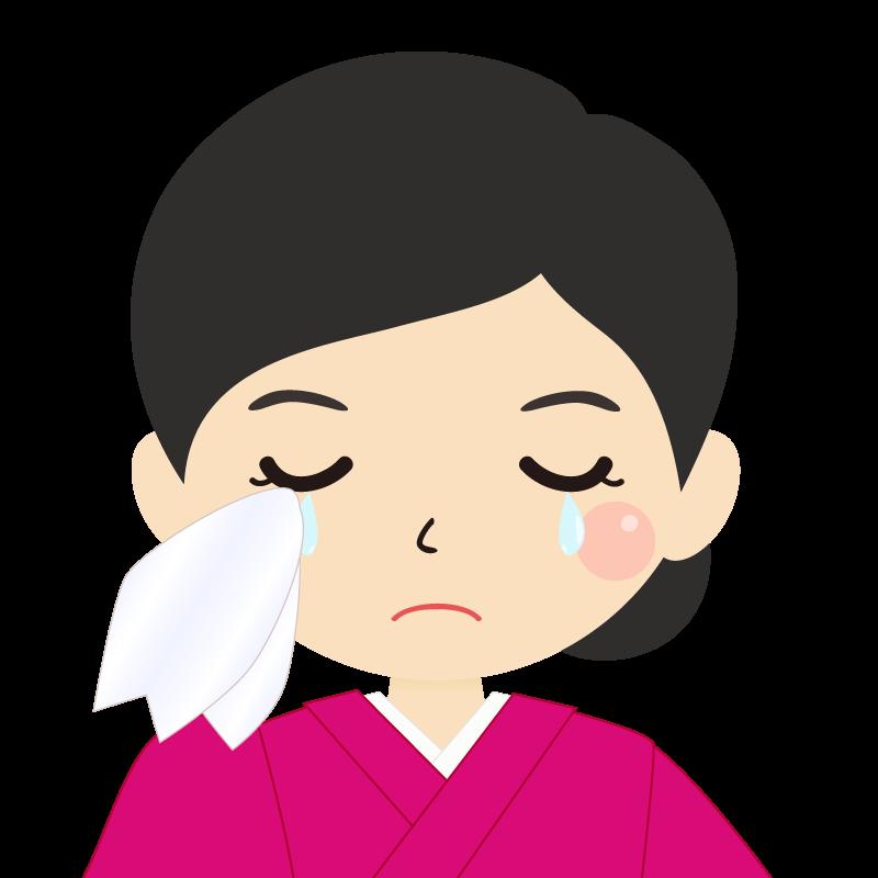 画像:まとめ髪の女性・和装・着物 涙