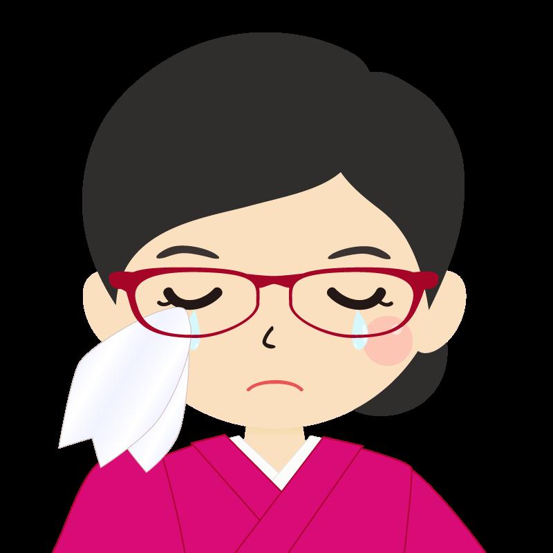 画像:まとめ髪の女性・和装・着物・眼鏡 涙