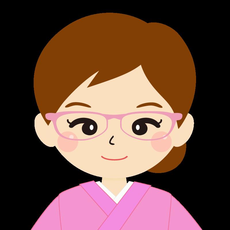 画像:茶髪・まとめ髪の女性・和装・着物・眼鏡