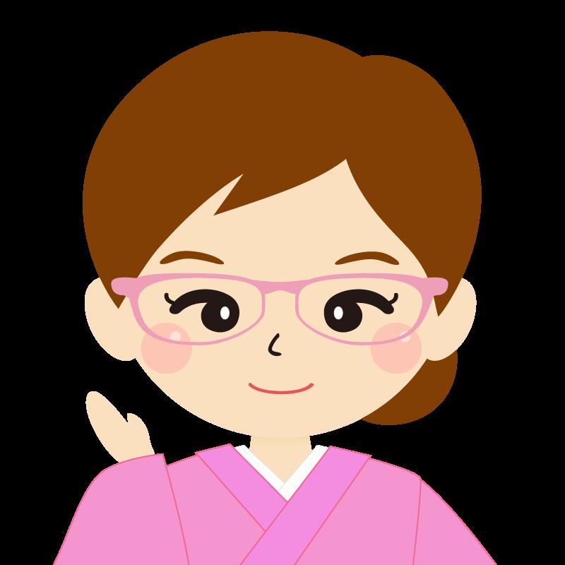 画像:茶髪・まとめ髪の女性・和装・着物・眼鏡 笑顔