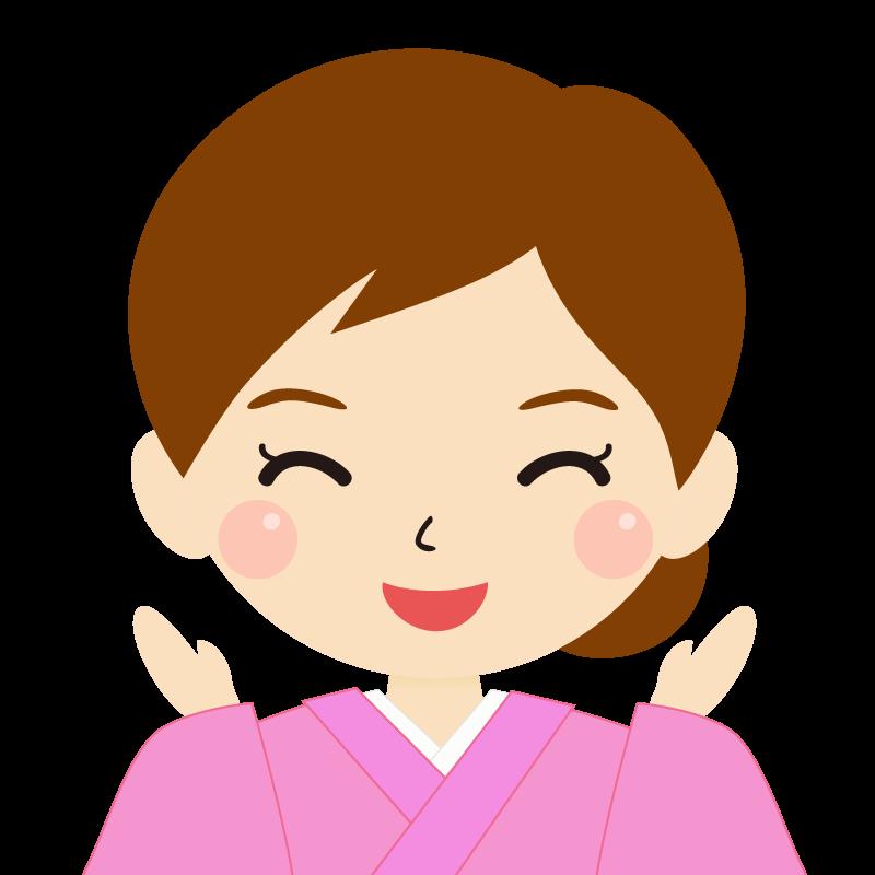 画像:茶髪・まとめ髪の女性・和装・着物 喜び