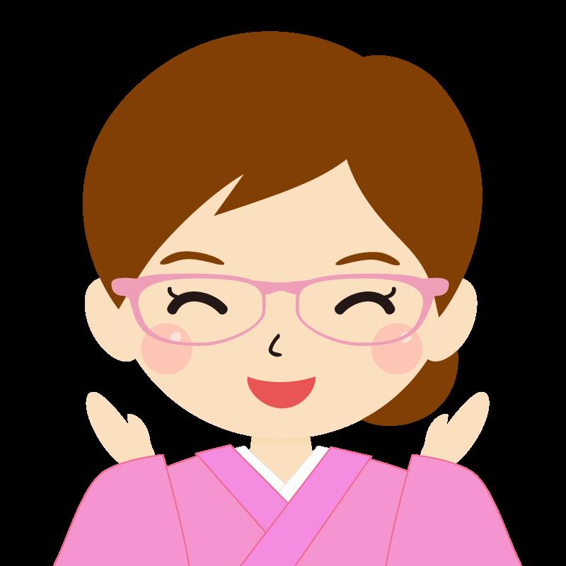 画像:茶髪・まとめ髪の女性・和装・着物・眼鏡 喜び