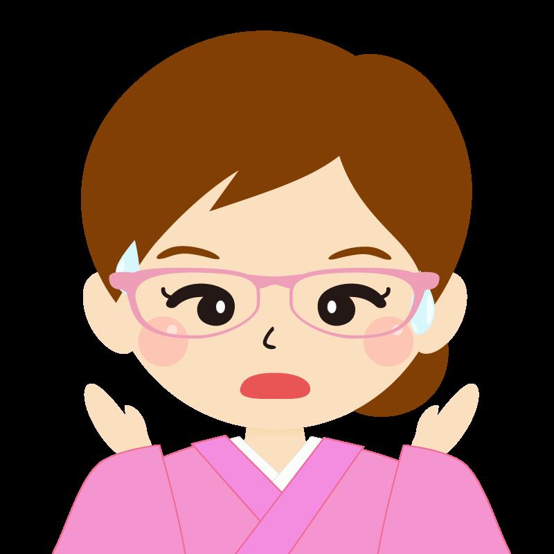 画像:茶髪・まとめ髪の女性・和装・着物・眼鏡 驚き