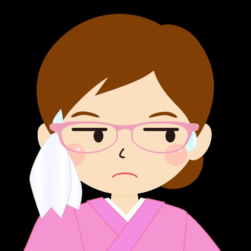 画像:茶髪・まとめ髪の女性・和装・着物・眼鏡 目線を外す