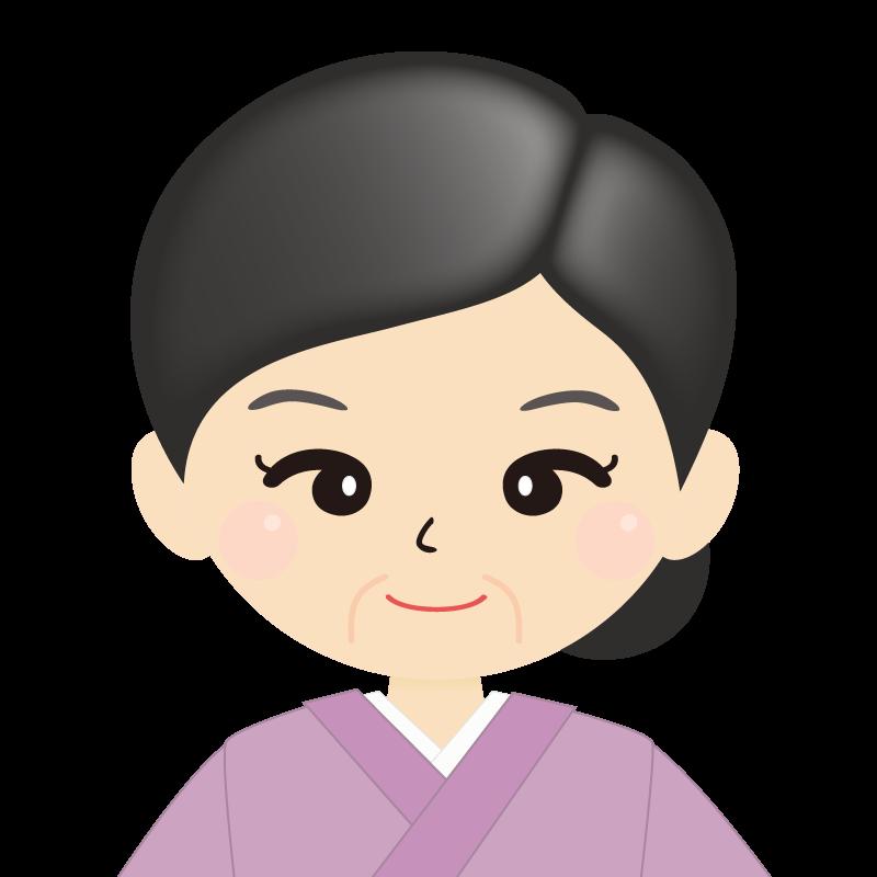 画像:熟年・まとめ髪の女性・和装・着物