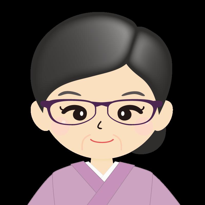 画像:熟年・まとめ髪の女性・和装・着物・眼鏡