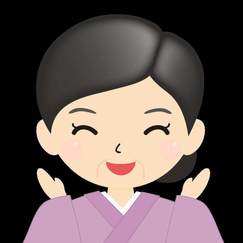 画像:熟年・まとめ髪の女性・和装・着物 喜び