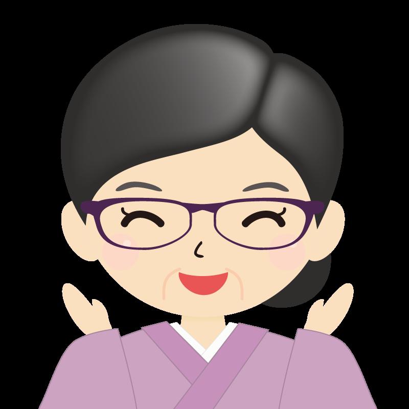 画像:熟年・まとめ髪の女性・和装・着物・眼鏡 喜び