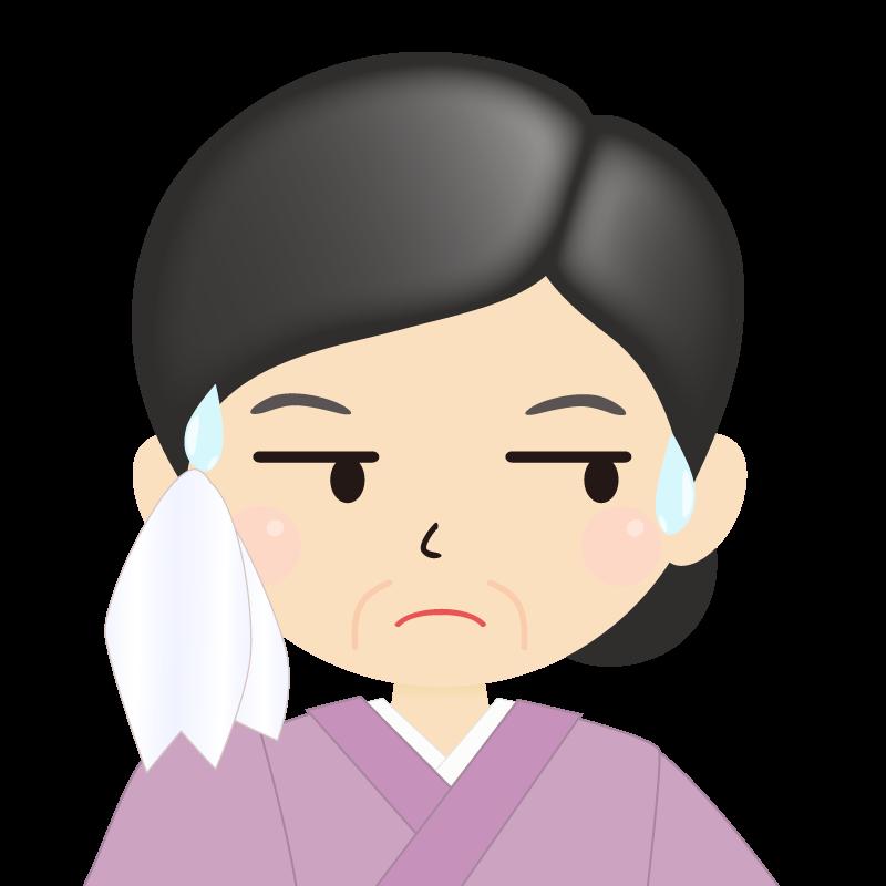 画像:熟年・まとめ髪の女性・和装・着物 目線を外す