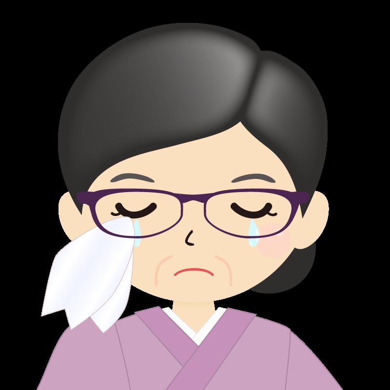 画像:熟年・まとめ髪の女性・和装・着物・眼鏡 涙