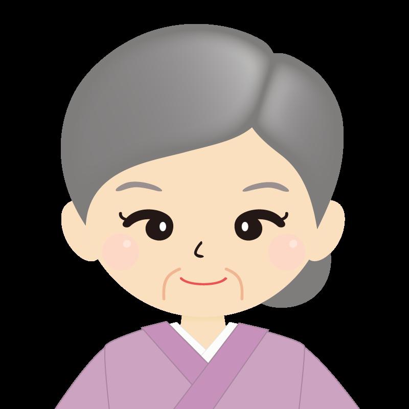 画像:お婆さん・まとめ髪の女性・和装・着物