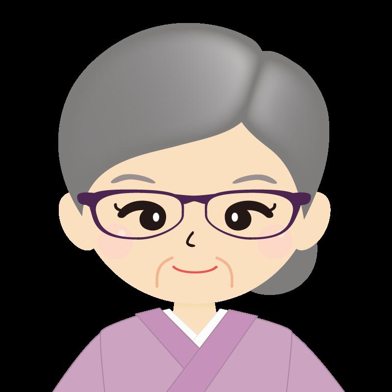 画像:お婆さん・まとめ髪の女性・和装・着物・眼鏡