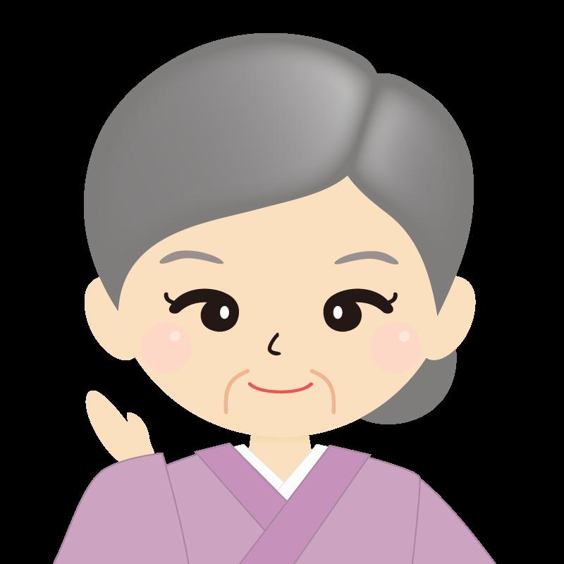 画像:お婆さん・まとめ髪の女性・和装・着物 笑顔