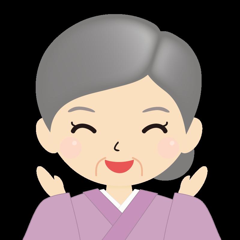 画像:お婆さん・まとめ髪の女性・和装・着物 喜び