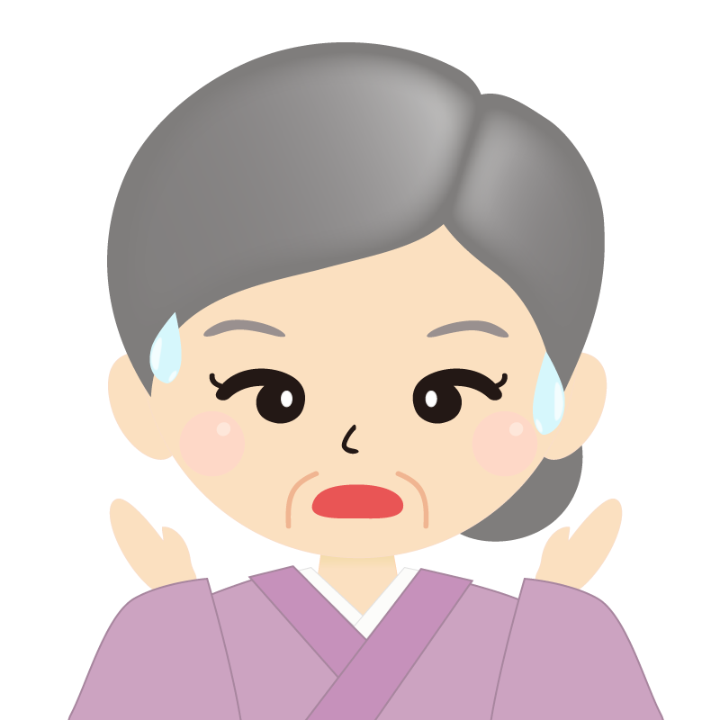 画像:お婆さん・まとめ髪の女性・和装・着物 驚き