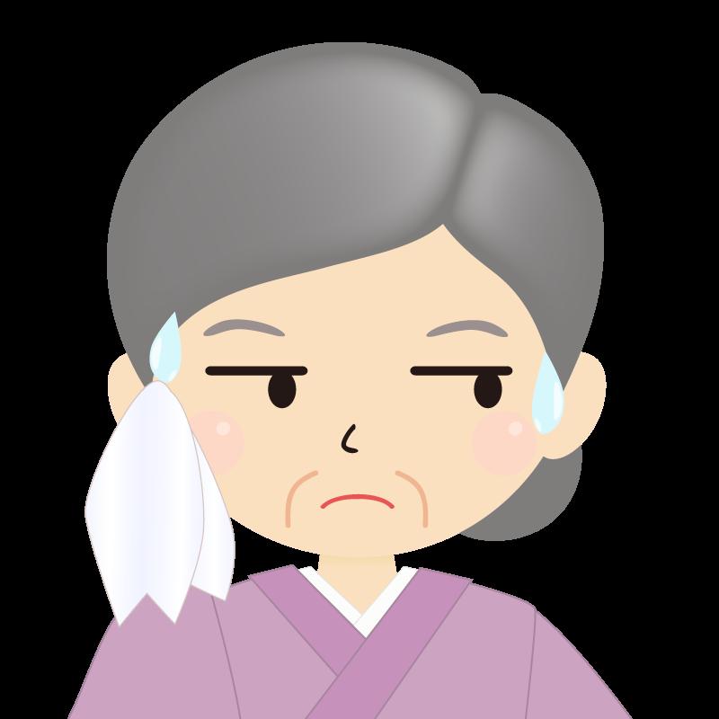 画像:お婆さん・まとめ髪の女性・和装・着物 目線を外す