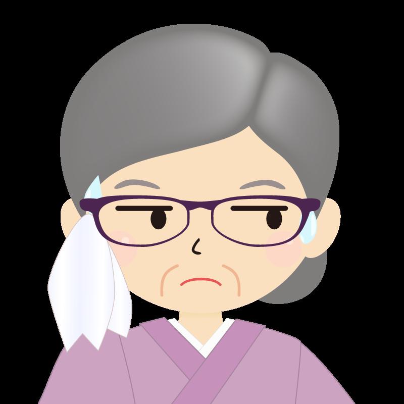 画像:お婆さん・まとめ髪の女性・和装・着物・眼鏡 目線を外す