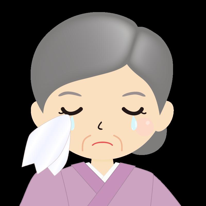 画像:お婆さん・まとめ髪の女性・和装・着物 涙