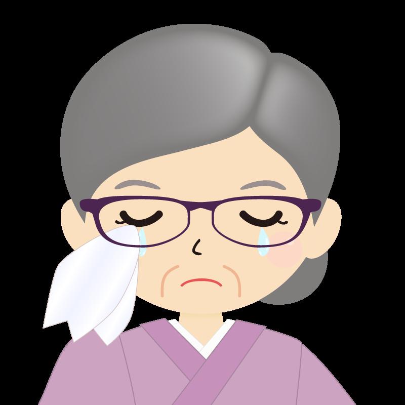 画像:お婆さん・まとめ髪の女性・和装・着物・眼鏡 涙