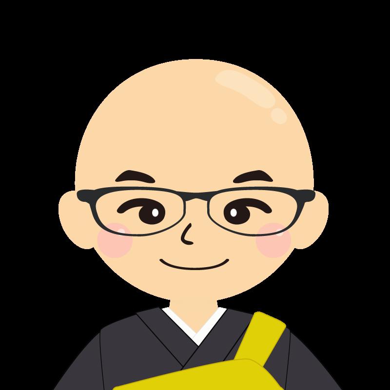 画像:つるつる頭の男性・僧侶・法衣 眼鏡