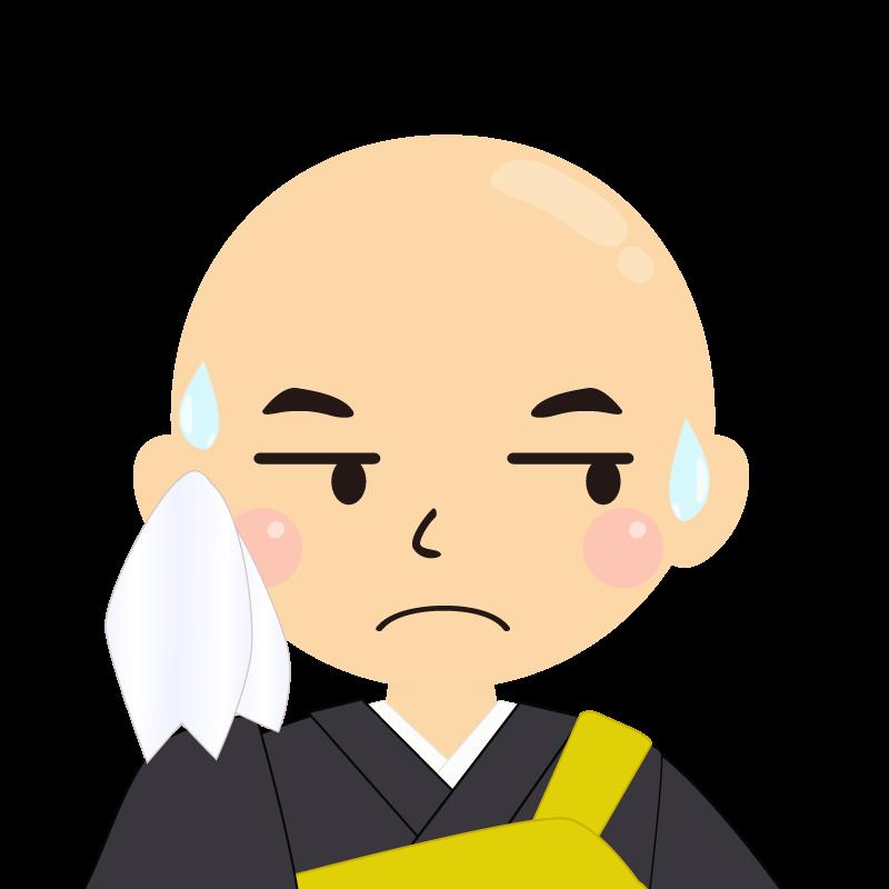 画像:つるつる頭の男性・僧侶・法衣 目線を外す