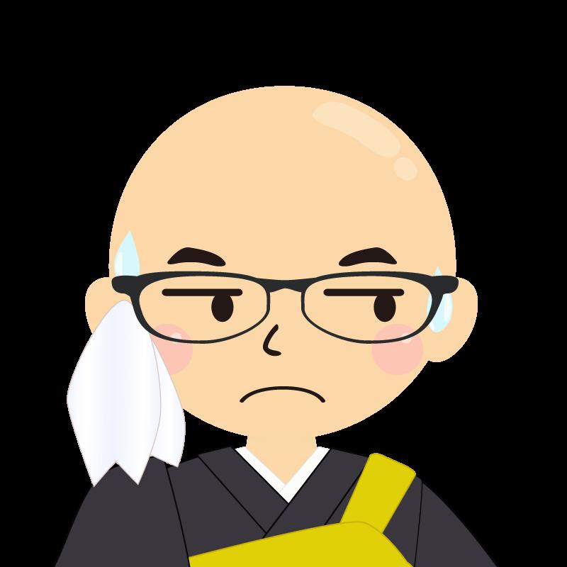 画像:つるつる頭の男性・僧侶・法衣 眼鏡 目線を外す