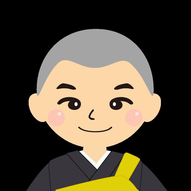 画像:坊主頭の男性・僧侶・法衣