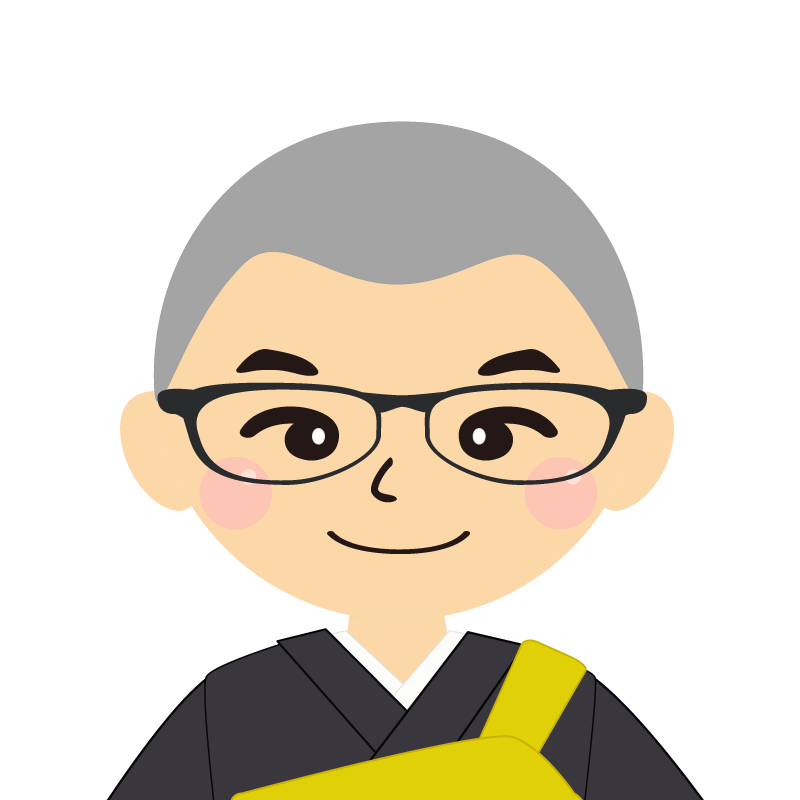 画像:坊主頭の男性・僧侶・法衣 眼鏡