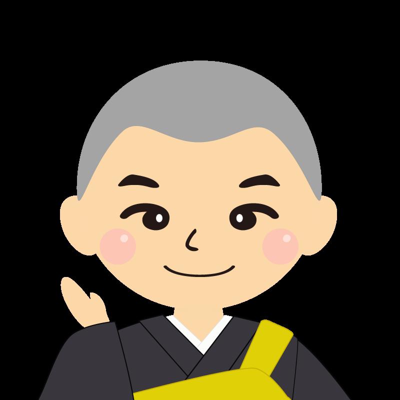 画像:坊主頭の男性・僧侶・法衣 笑顔