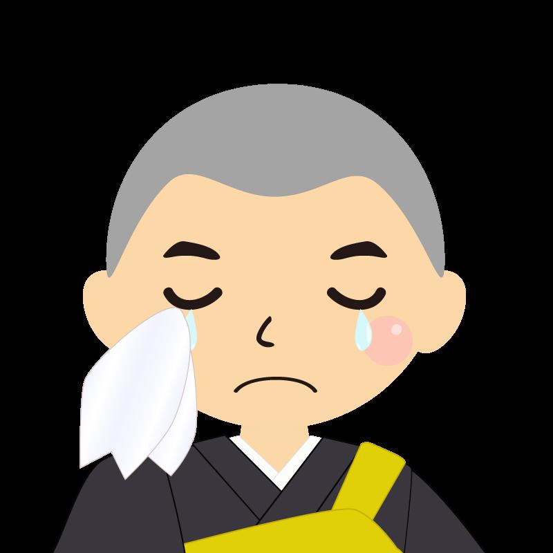 画像:坊主頭の男性・僧侶・法衣 涙