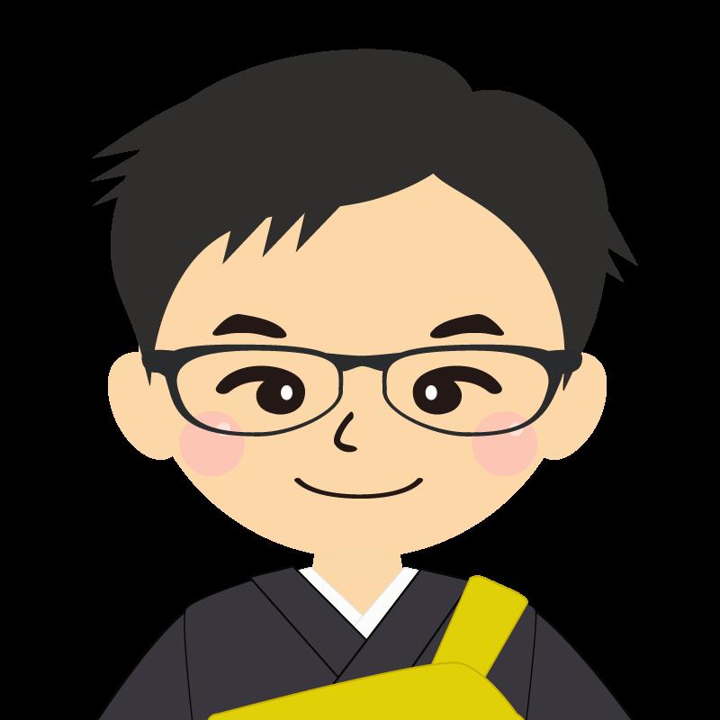 画像:短髪の男性・僧侶・法衣 眼鏡
